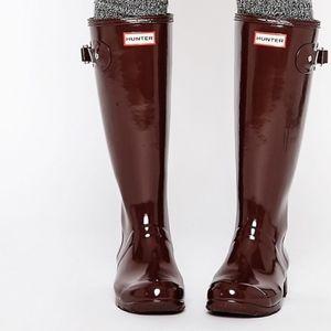 Women's Maroon Original Hunter Boots w/ Box Sz 8.5